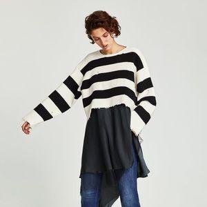 Zara Striped Distressed Oversized Ribbed Sweater